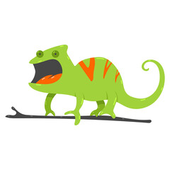 Photo sur Plexiglas Dinosaurs Chameleon vector cartoon illustration isolated on a white background.