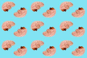 pop art poster multicolored scattered models of the human brain, seamless background, the concept...