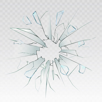 High detailed realistic broken glass isolated on transparent background. With cracks and bullet marks. Realistic transparent shards of broken glass. Vector illustration.