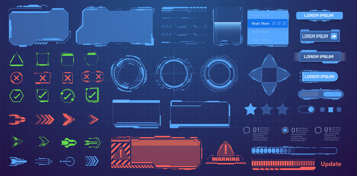 Screens HUD, UI, GUI. Callouts titles. A set of sci-Fi modern user futuristic  interface elements, buttons, arrows, frames, downloads. Information call box bars, modern digital info boxes layout.