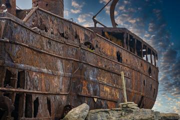 old rusty ship on Inis Óirr, Aran Islands, Ireland