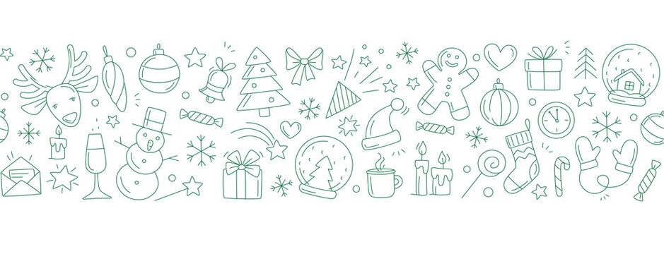 Merry Christmas Happy New Year seamless background pattern.