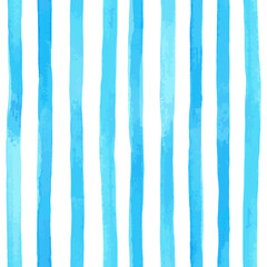 Beautiful seamless pattern with vertical blue watercolor stripes. hand painted brush strokes, striped background. Vector illustration