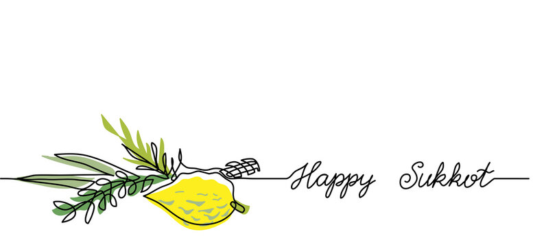 Happy Sukkot simple web banner, background.One continuous line drawing of lemon and green brunches with text Happy Sukkot.