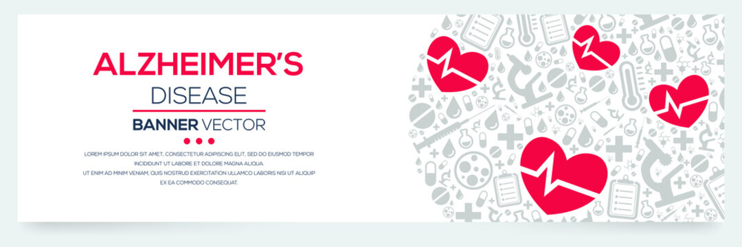 Creative (Alzheimer's Disease) disease Banner Word with Icons ,Vector illustration.