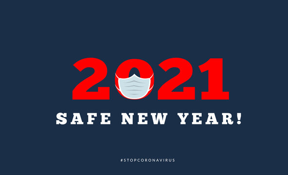 Happy new year 2021 with medical mask. Vector illsutration