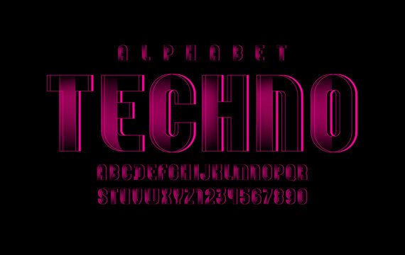 Pink technical font, digital alphabet, letters (A, B, C, D, E, F, G, H, I, J, K, L, M, N, O, P, Q, R, S, T, U, V, W, X, Y, Z) and numbers (0, 1, 2, 3, 4, 5, 6, 7, 8, 9), vector illustration 10EPS