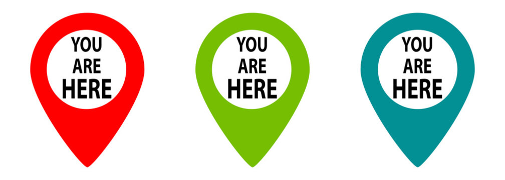 You are here. Location navigation pins collection.