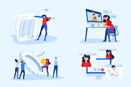 Set of business people concepts. Vector illustrations of video meeting, conference call, work from home, project development, business contract, electronic signature.