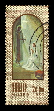 Malta - CIRCA 1980: A stamp printed in Malta shows Annunciation, painting by maltese artist Anton Inglott, series Christmas, circa 1980