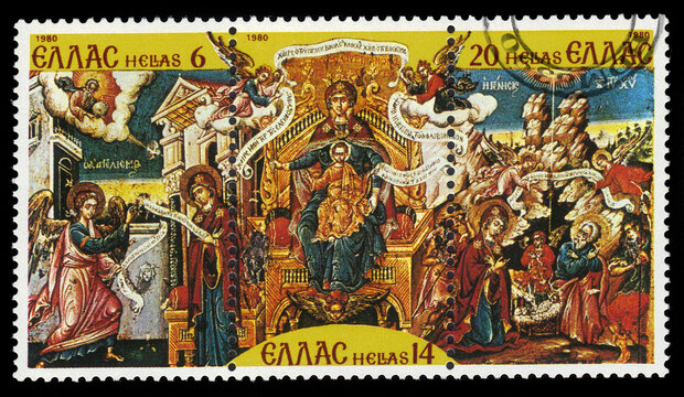 "GREECE - CIRCA 1980: A stamp printed in Greece shows ""He Is Happy Thanks To You"" painting by T.Poulakis, series Christmas 1980, circa 1980"