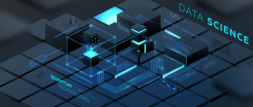 Artificial intelligence and robotic quantum computing processor isometric concept for business technology, engineering and innovations design. Eps10 vector illustration