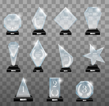 Glass trophy awards set. Glass trophies plaque engraved crystal award realistic. Vector isolated image fogged crystal award designs shape on board pedestal for awarded champion