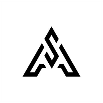 Initial AS logo design, Initial AS logo design with triangle style