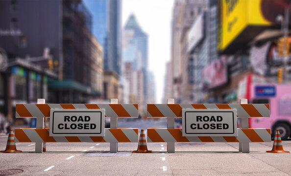 Closed road text sign, street barriers and traffic cones downtown, city center background. 3d illustration