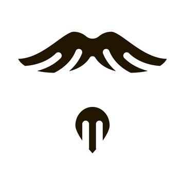 Goatee Beard Mustache glyph icon vector. Goatee Beard Mustache Sign. isolated symbol illustration
