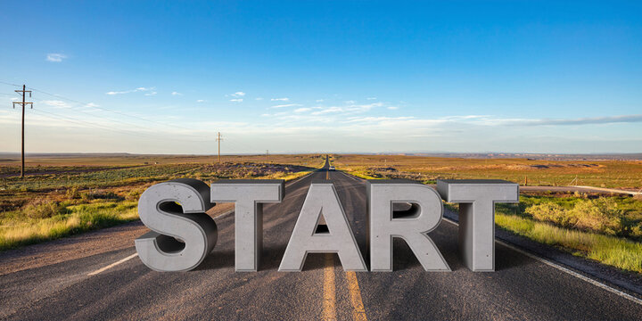 Start, beginning concept. Text sign on a long straight road, blue sky background. 3d illustration