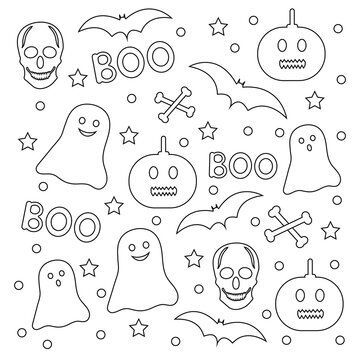 Halloween coloring page. Creative background.