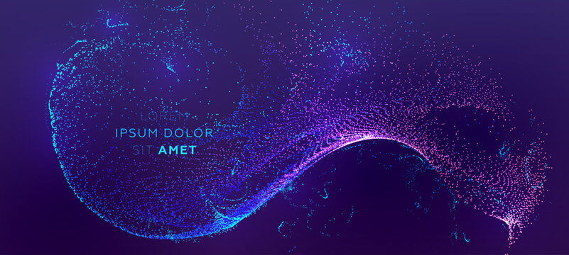Glowing particles liquid dynamic flow background. Trendy fluid cover design. Eps10 vector illustration