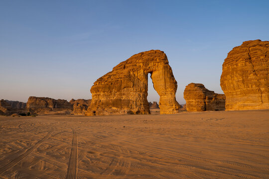 Morning sunrise view of Elephant Rock natural geological formation, Al Ula, western Saudi Arabia