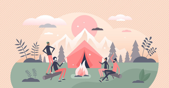 Campfire or fireplace camping adventure with friends tiny persons concept