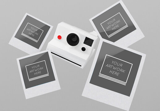 4 Instant Photos Mockup with Camera
