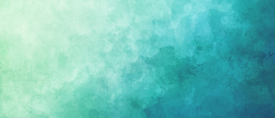 Watercolor background in blue and white painting with gradient painted texture and grunge in abstract design, pastel blue green backgrounds or paper banner