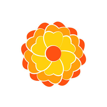 Marigold simple icon. Clipart image isolated on white background.