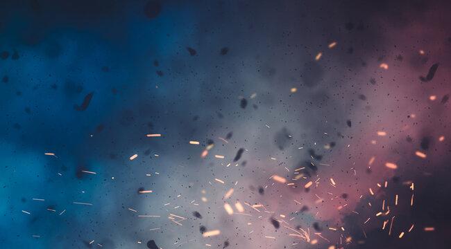 battlefield, smokes and disaster scenario background