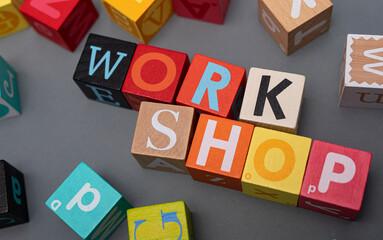 word webinar coaching workshop concept cubes