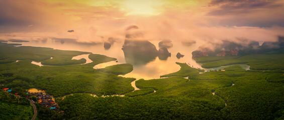 Wall Mural - Aerial view image of Phang Nga Bay in Samed Nang Chee viewpoint at sunrise, Phang Nga, Thailand