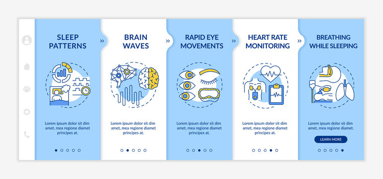 Medical screening onboarding vector template. Sleep pattern. Heart rate monitoring. REM dreaming phase. Responsive mobile website with icons. Webpage walkthrough step screens. RGB color concept