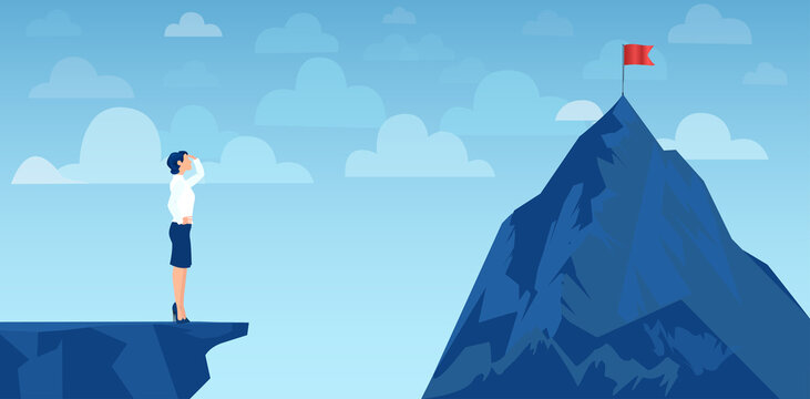 Vector of a businesswoman looking at her goal, mountain with red flag on the top