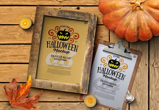 Halloween Autumn Poster Flyer Clipboard Mockup