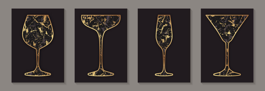 Modern abstract luxury card templates for wine or cocktails tasting invitation or bar and restaurant menu or banner or logo with golden glasses with marble texture on a black background.