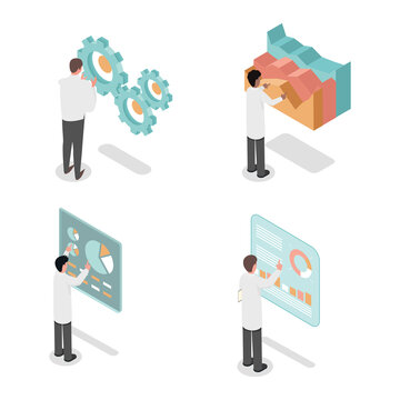 Young people developing, make inventions and analyzing data vector isometric 3d illustration isolated on white background. Scientists making diagrams and chart graphs and make discoveries.