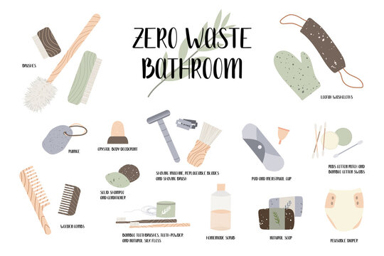 Zero waste bathroom, reusable products. Eco friendly lifestyle. Bamboo toothbrush and ear stick, menstrual cup, reusable diaper, loofah. Care for the environment. Vector flat cartoon illustration