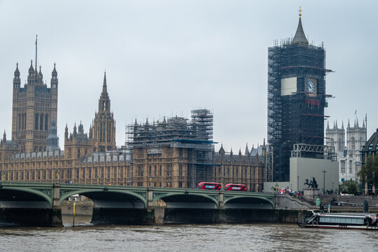 The Elizabeth Tower, better known as Big Ben, is pictured during restoration works at the Houses of Parliament in central London. Work began this week to start to remove the scaffolding and supports a