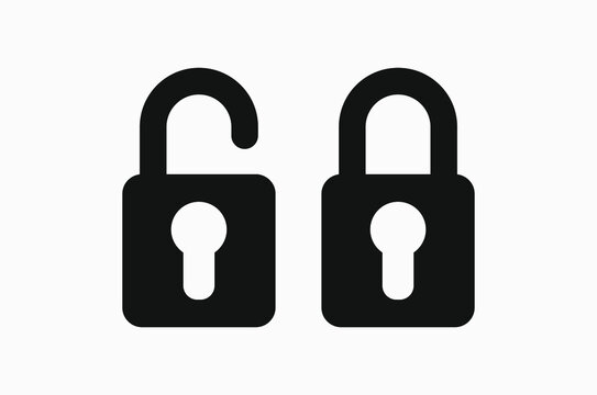 Black vector icon of a lock on white background. Locked and unlocked padlock.