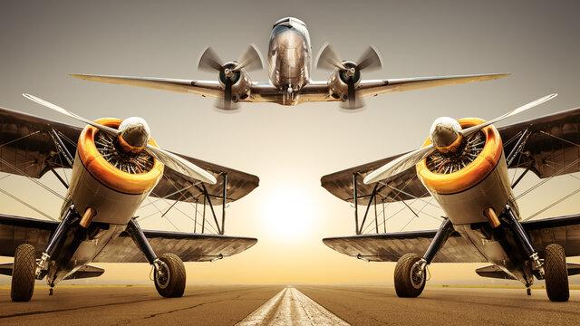 historical aircrafts on a runway