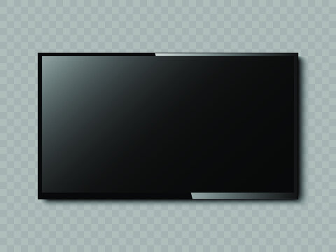 New Version of High Detailed Black Slim Realistic TV isolated on Transparent Background. Front View Display. Device Mockup Separate Groups and Layers. Easily Editable Vector. EPS 10