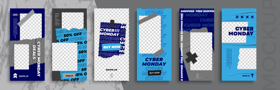 Cyber Monday Sale. Trendy editable Stories template. Design  for social media.