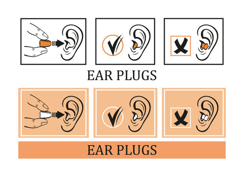 Protective earplugs from loud noise vector icon set. Instruction for correct using foam ear plugs. Safe protect against extraneous sound during travel airplane, sleep.  Template for packaging design