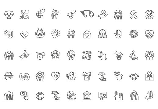 Charity and Donation Outline Icon Set