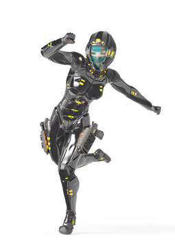 astronaut girl on sci-fi suit is running fast