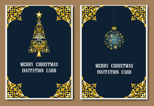 Vintage Merry Christmas and New Year party gold invitation card, Greeting card, flyer, poster. Vector illustration EPS10.