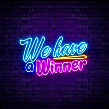 We have a Winner lettering sign neon 3D illustration