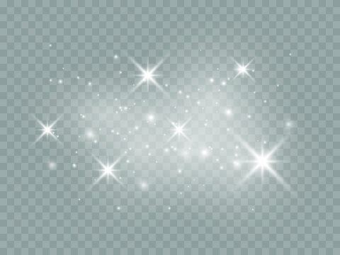 Set of white glowing lights effects isolated on transparent background Sun flash with rays and spotlight Star burst with sparkles