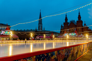 MOSCOW,RUSSIA - December 18, 2019: Gum Ice Rink on Red Square.