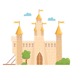 Medieval Castle. Fairytale mansion exterior. Knight fortress with towers and flags. Vector cartoon illustration.